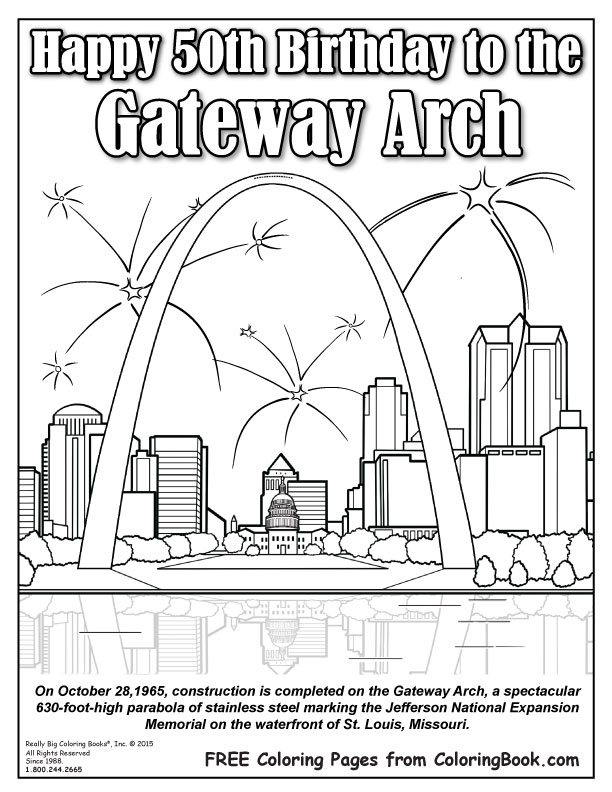 Coloring Books  Free Online Coloring Gateway Arch Birthday