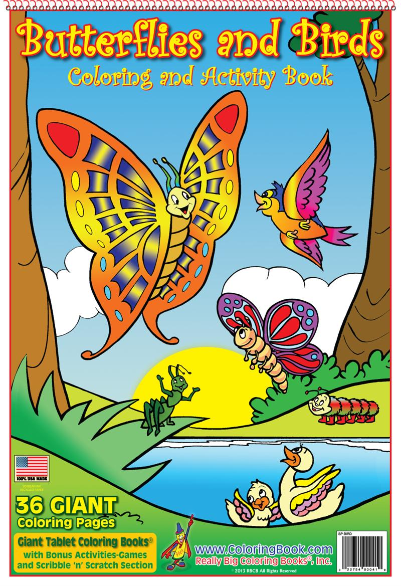 butterflies and birds giant coloring book