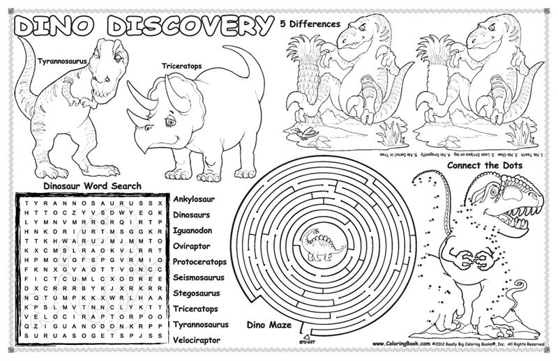 Coloring Books |Dinosaurs Colorable Placemat