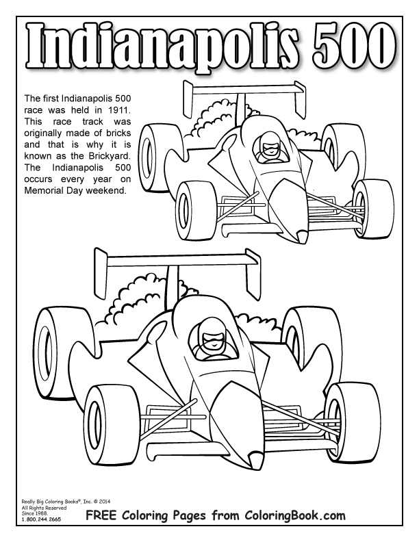 Coloring Books Free Online Coloring Indianapolis 500 Page