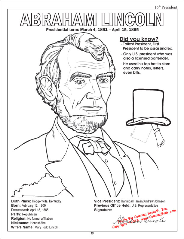 abraham lincoln hat coloring pages - photo#16