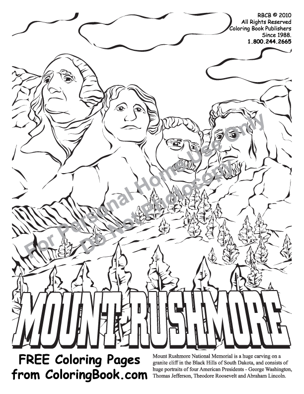 Mount Rushmore Free Colouring Pages