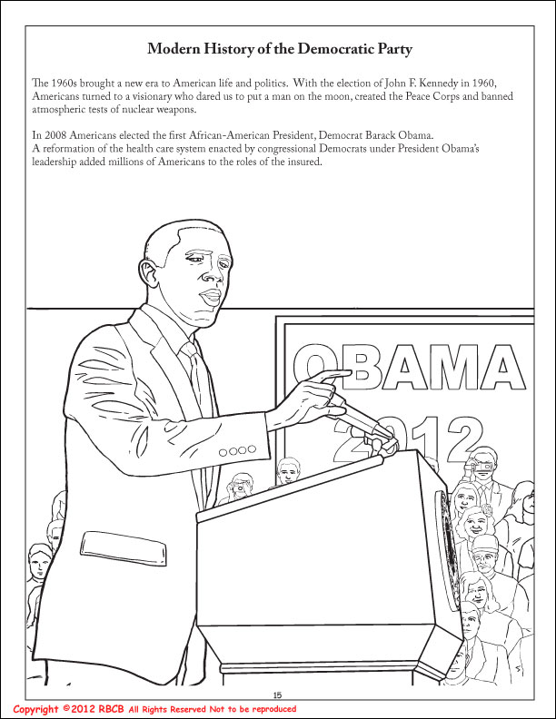 Obama And Family Coloring Pages