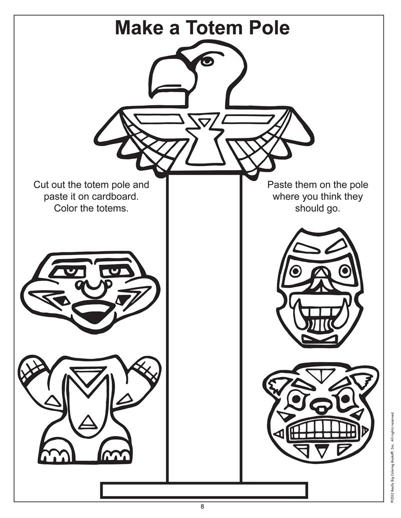 totem pole animal coloring pages - photo#34