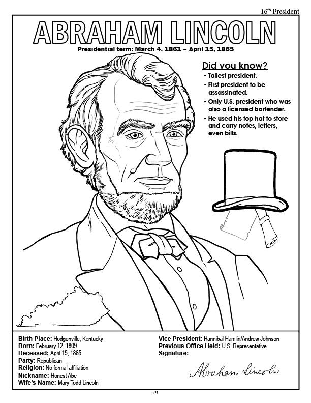 president thomas jefferson coloring page president abraham lincoln coloring page