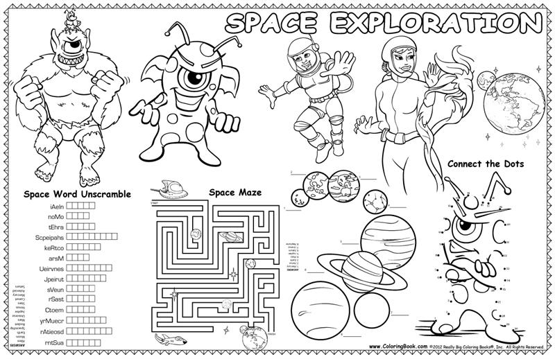 Coloring Books | Colorable Placemat Outer Space