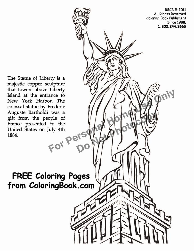 free online coloring pages statue of liberty