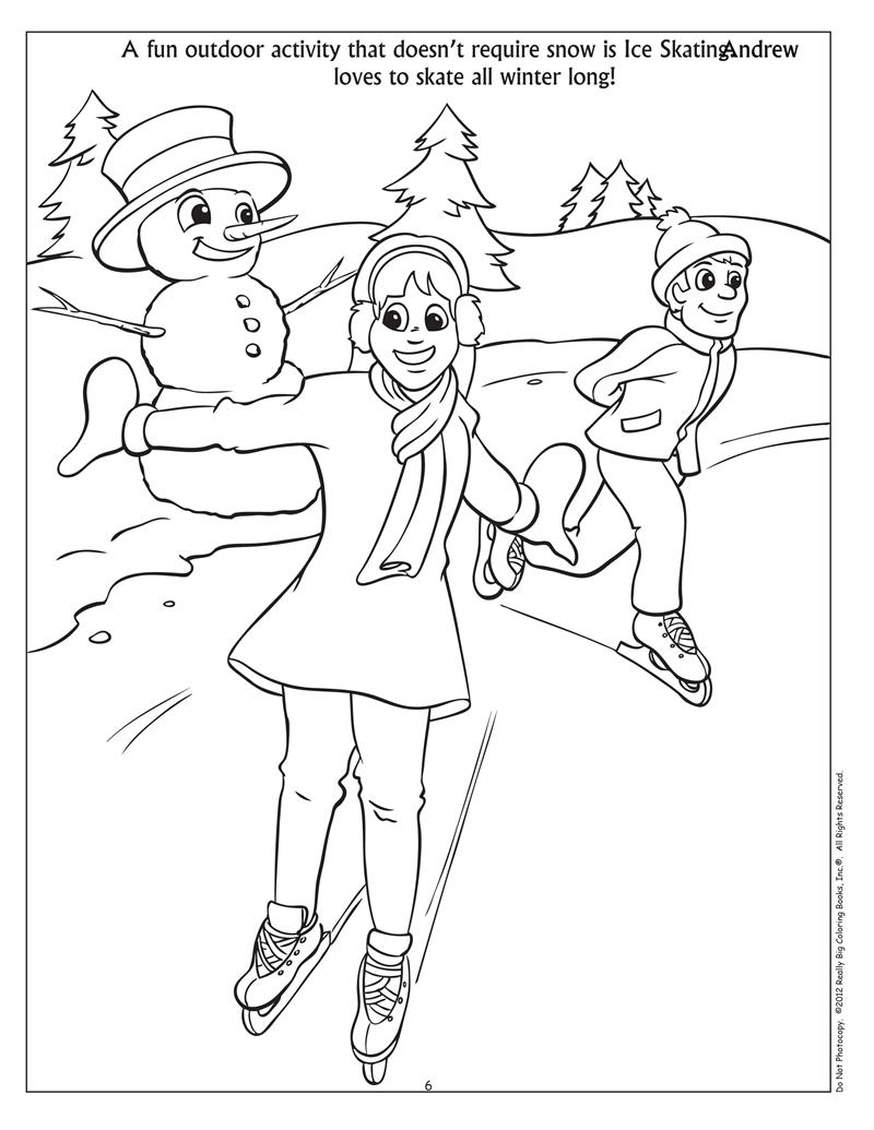 Clip Art Winter Fun Coloring Pages coloring books personalized winter fun book book