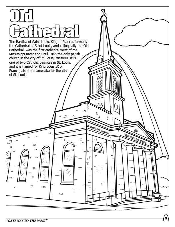 Coloring books st louis gateway to the west for Cathedral coloring pages