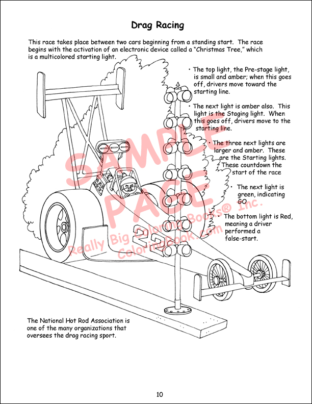 Drag Car Coloring Pages : Coloring books racing giant book