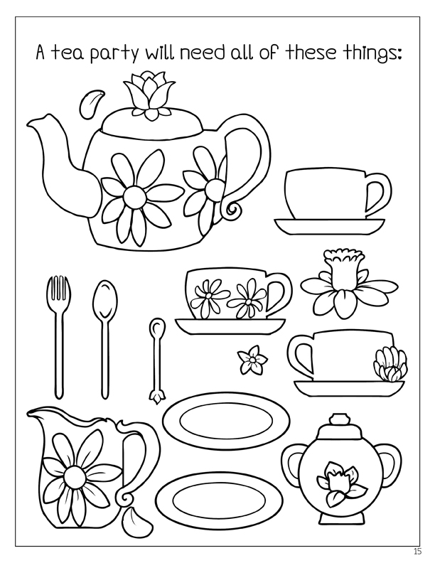 Tea Party Drawing Coloring Coloring Pages