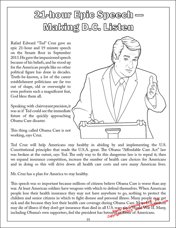 Coloring Books | Ted Cruz to the Future - Saves America Coloring Book
