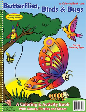 Butterflies, Birds & Bugs Power Panel Coloring Book