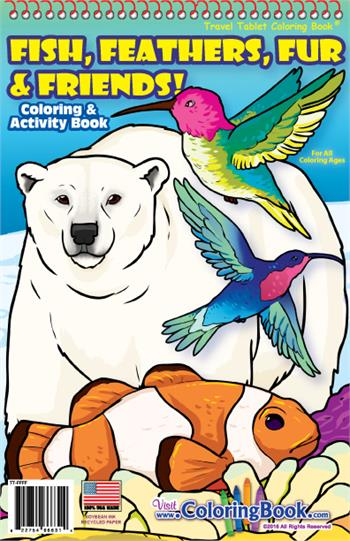 Fish, Feathers, Fur and Friends! Travel Tablet Coloring Books