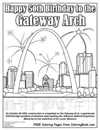 Free Online Coloring Pages - Happy 50th Birthday Gateway Arch