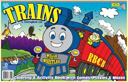 Trains LapTop Coloring Book