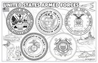 United States Armed Forces Colorable Placemat