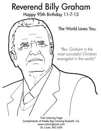 Reverend Billy Graham - Free Online Coloring Pages