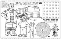 Fire Protection Coloring Colorable Placemat