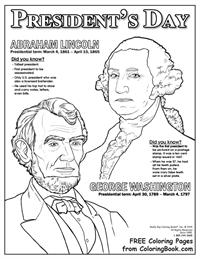 Free Online Coloring Pages - Presidents Day