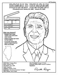 President Ronald Reagan Coloring Page