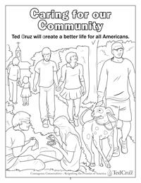 Caring for our Community coloring page