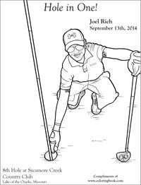 Hole in one coloring page - Joel Rich