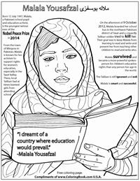 coloring books malala yousafzai free online coloring page