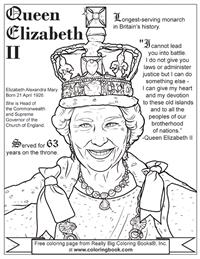 Elizabeth 1 Colouring Sheets : Coloring Books Queen Elizabeth II Free Online Coloring Page