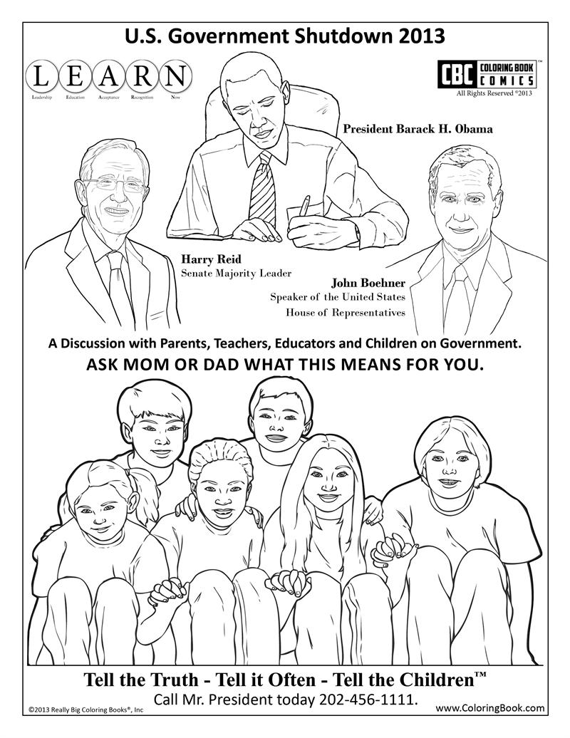 Government shutdown free coloring book page