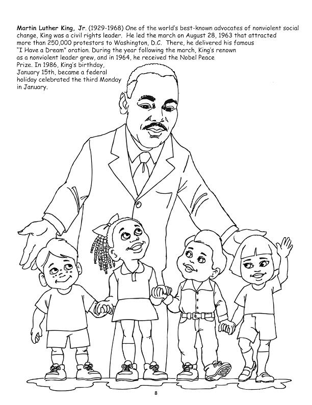 Coloring books african american leaders power panel for Martin luther coloring pages