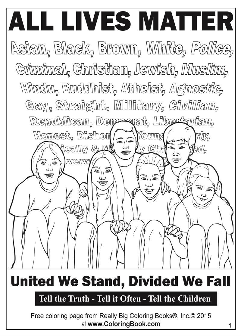 Coloring Books | All Lives Matter Free Online Coloring Page