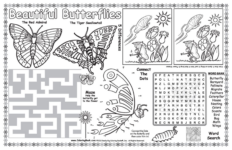 Coloring Books | Butterflies coloring Placemat