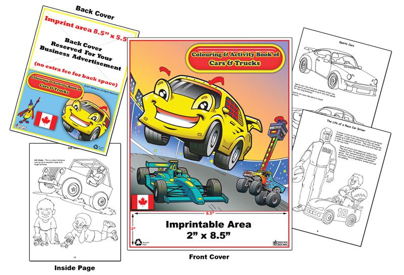 Coloring Books Custom Imprint Promotional Colouring Books Cars
