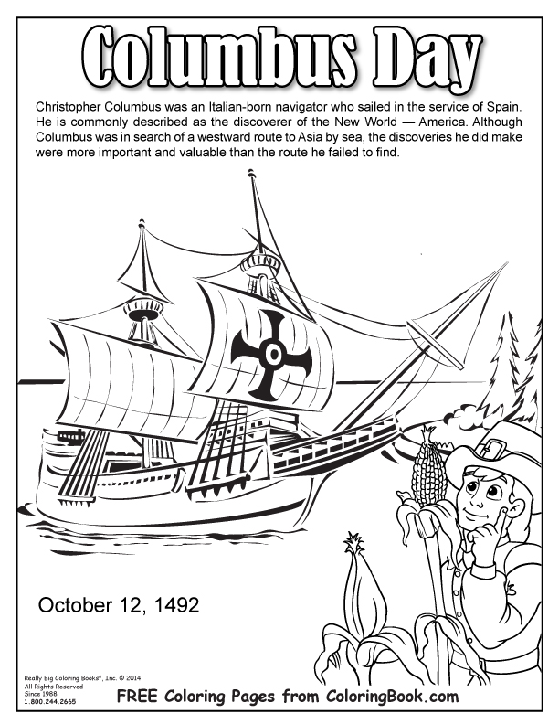 Coloring Books | Columbus Day Free Online Coloring Page