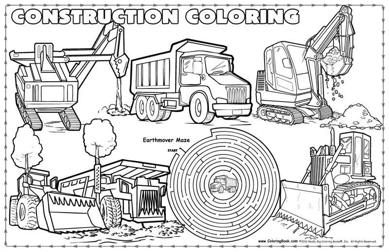 Coloring Books | Construction Coloring Placemat