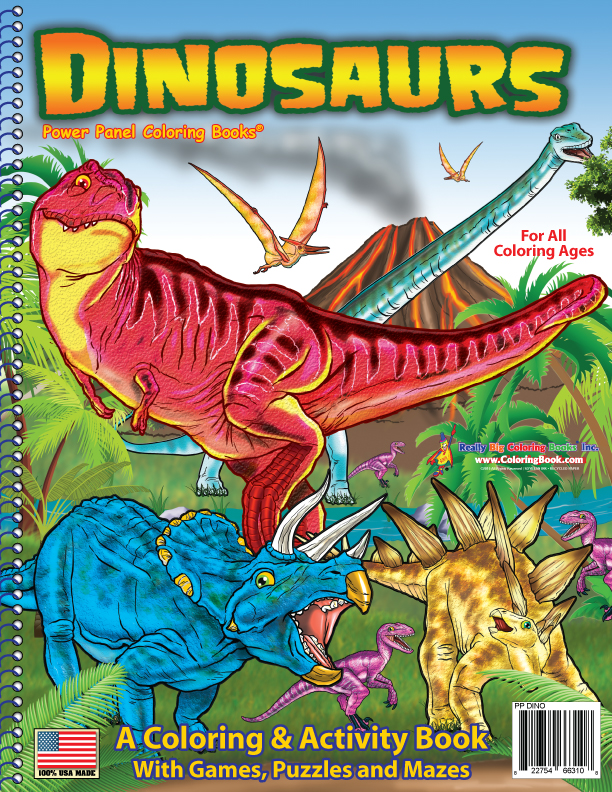 Dinosaurs power panel coloring book