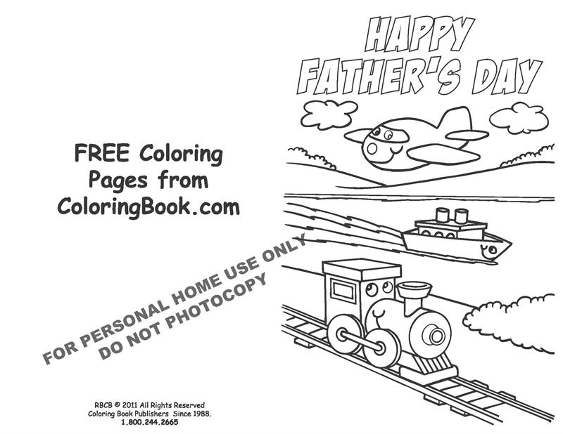 Free Online Coloring Pages-Father's Day Card
