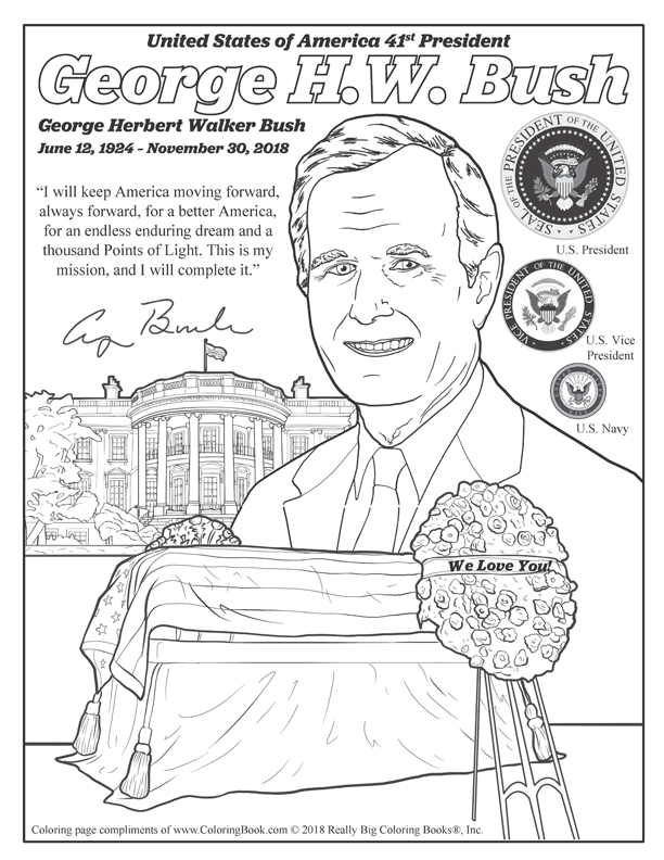 George H W Bush Free Online Coloring