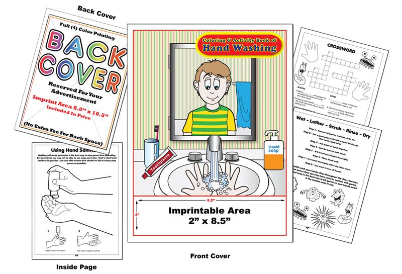 Hand Washing - Imprintable Coloring & Activity Book (as Low As $0.39 Ea.)