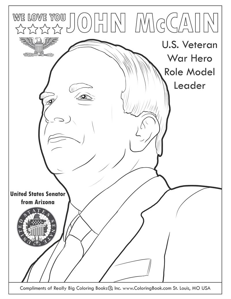 Coloring Books | John McCain Free Online Coloring Page