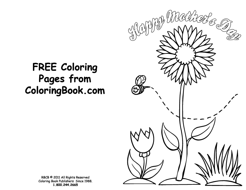 Free Online Coloring Pages Mothers Day Card