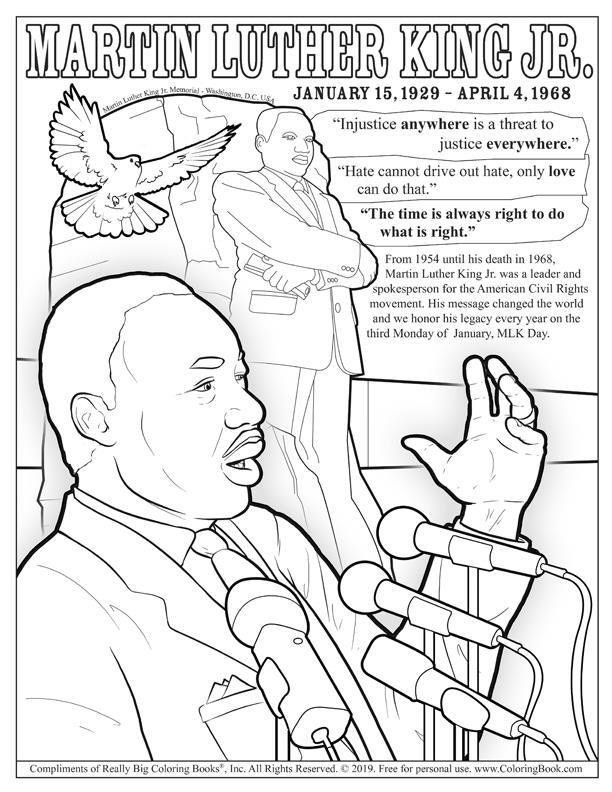 Dr. Martin Luther King Jr. Day Free Online Coloring Page - Coloring Books