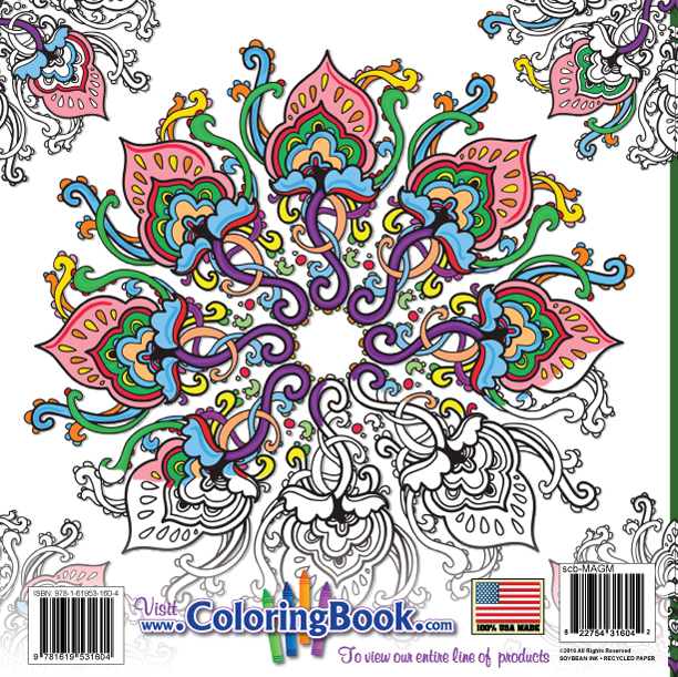 Magic Mandalas Coloring Book Design 4 Back Cover