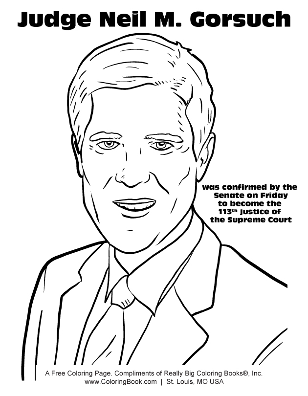 Coloring Books | Judge Neil M. Gorsuch Coloring Page