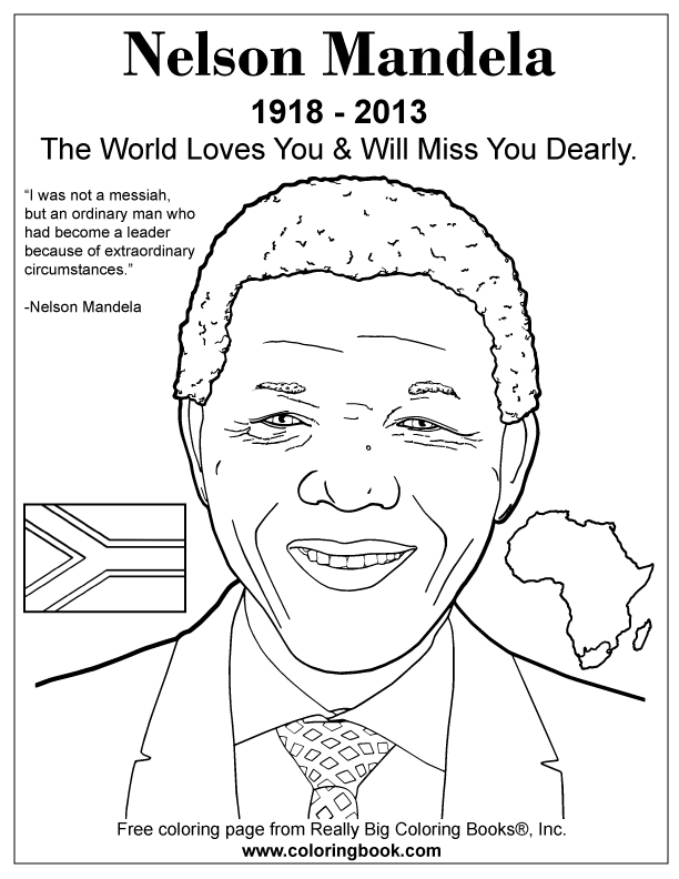 Coloring Books | Nelson Mandela Free Online Coloring Page