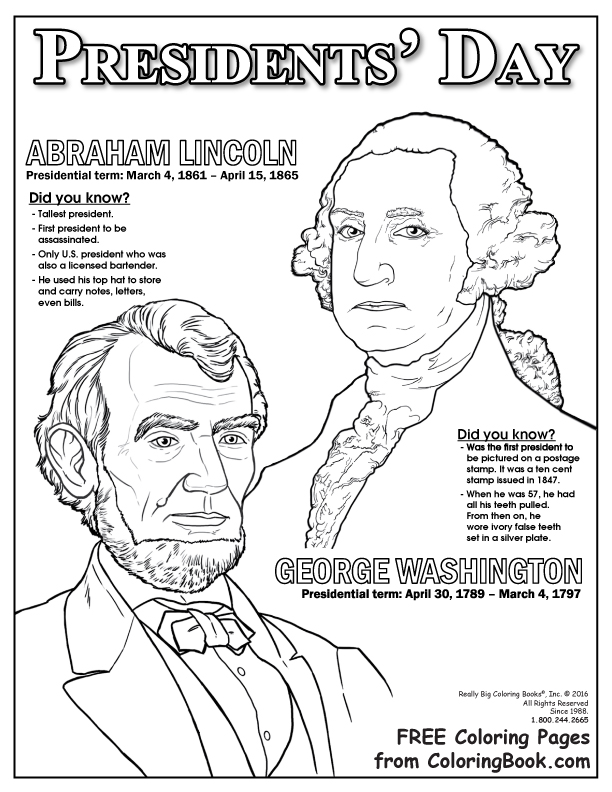 Presidents Day Coloring Pages Printable Coloring Books  Presidents Day Free Online Coloring Page