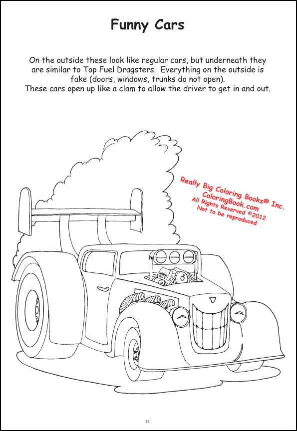 Funny Car Racing Coloring Books