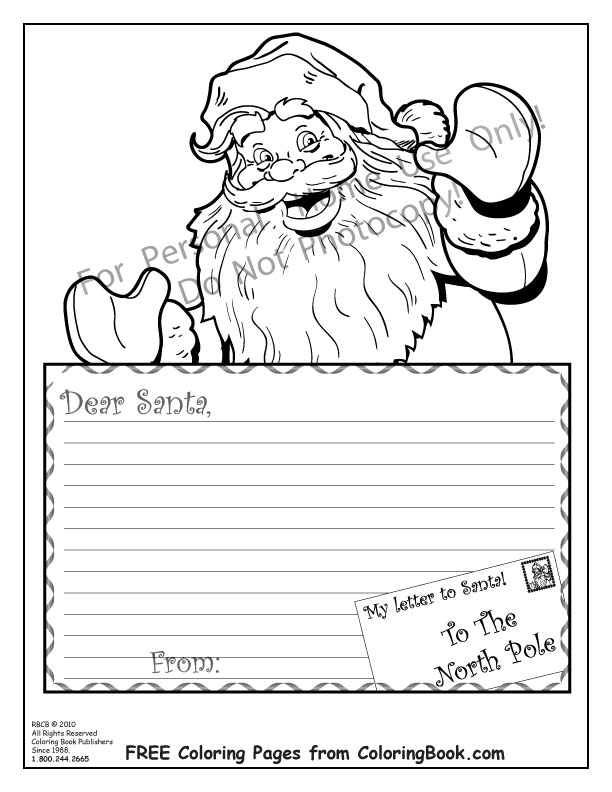Coloring pages free online coloring pages santa letter for Santa coloring pages free