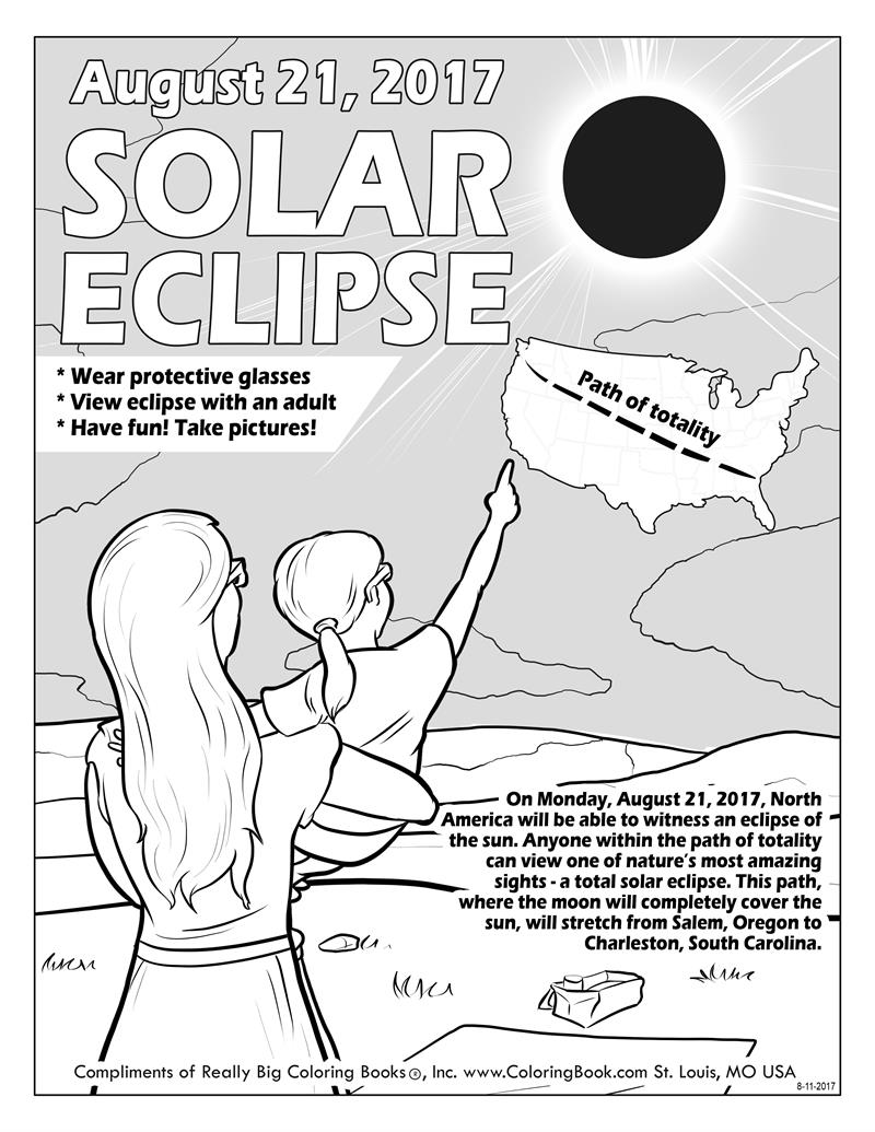 Colouring sheets of the lunar eclipse - Solar Eclipse 2017 Free Online Coloring Pages